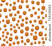 seamless pattern with pumpkins... | Shutterstock .eps vector #719135452