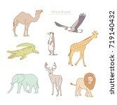 wild life africa animals vector ... | Shutterstock .eps vector #719140432