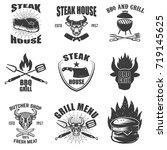 set of steak house emblems....   Shutterstock .eps vector #719145625