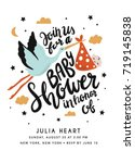 baby shower invitation with... | Shutterstock .eps vector #719145838