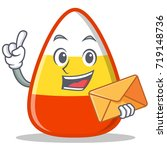 with envelope candy corn... | Shutterstock .eps vector #719148736