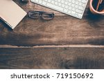 office stuff and stationery... | Shutterstock . vector #719150692