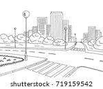street road graphic black white ... | Shutterstock .eps vector #719159542