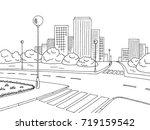 street road graphic black white ... | Shutterstock .eps vector #719159542