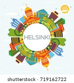 helsinki skyline with color... | Shutterstock . vector #719162722
