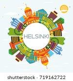 helsinki skyline with color... | Shutterstock . vector #719162722