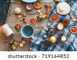 flat lay of seasonal home craft ... | Shutterstock . vector #719164852