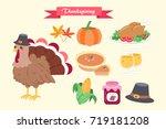 cute cartoon thanksgiving for... | Shutterstock . vector #719181208