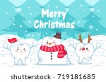 tooth with merry christmas on... | Shutterstock . vector #719181685