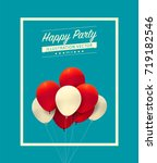 red and white balloon with... | Shutterstock .eps vector #719182546