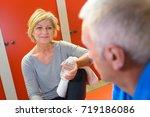 elderly people having a... | Shutterstock . vector #719186086