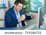 man with yes gesture in front... | Shutterstock . vector #719186722