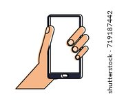 hand holding smartphone icon... | Shutterstock .eps vector #719187442