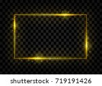 gold shining rectangle banner.... | Shutterstock .eps vector #719191426
