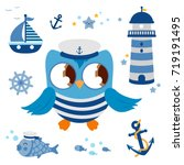 cute vector nautical set with... | Shutterstock .eps vector #719191495