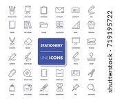 line icons set. stationery pack.... | Shutterstock .eps vector #719195722