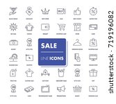 line icons set. sale pack.... | Shutterstock .eps vector #719196082