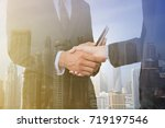 double exposure people shaking... | Shutterstock . vector #719197546