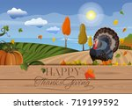 thanksgiving background with... | Shutterstock .eps vector #719199592