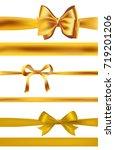 set of golden bows on white.... | Shutterstock .eps vector #719201206