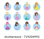 beautiful cartoon princesses...   Shutterstock . vector #719204992