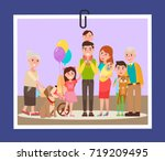 big happy familly consisting of ... | Shutterstock .eps vector #719209495