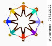 flat people forming a circle... | Shutterstock .eps vector #719213122