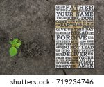 the lord's prayer. wooden... | Shutterstock . vector #719234746