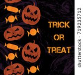 seamless vertical halloween... | Shutterstock .eps vector #719235712