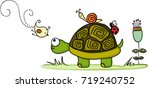 Stock vector turtle in garden with animal friends 719240752