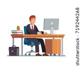 businessman or a clerk  in a... | Shutterstock .eps vector #719244268