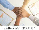 close up top view of business... | Shutterstock . vector #719245456