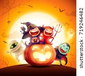 halloween kids costume party.... | Shutterstock .eps vector #719246482