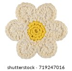 Stock photo knitted chamomile flower isolated on white background 719247016