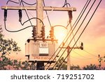 high voltage post and high... | Shutterstock . vector #719251702
