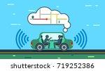 the autonomous car travels... | Shutterstock .eps vector #719252386