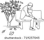vector art drawing of very sad...   Shutterstock .eps vector #719257045
