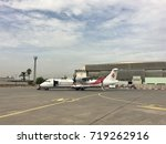 Small photo of ALGIERS, ALGERIA - SEPTEMBER 15, 2017: Air Algerie propeller plane taxis at houari boumediene airport.Air Algerie is the national airline of Algeria.