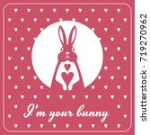 love card with bunny and hearts   Shutterstock .eps vector #719270962