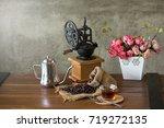 vintage manual coffee grinder... | Shutterstock . vector #719272135