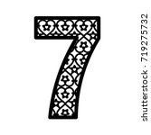 number 7 for laser cutting....   Shutterstock .eps vector #719275732
