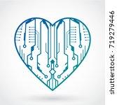 3d circuit desk design heart... | Shutterstock .eps vector #719279446