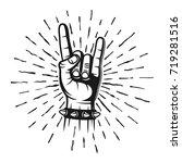 heavy metal horns hand gesture... | Shutterstock .eps vector #719281516