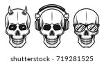 set of three skulls with... | Shutterstock .eps vector #719281525