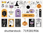 halloween set with cards ... | Shutterstock .eps vector #719281906