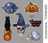 set of macabre halloween ...   Shutterstock .eps vector #719284282