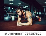 plank it  confident muscled... | Shutterstock . vector #719287822