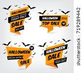 a set of halloween sale banners.... | Shutterstock .eps vector #719289442