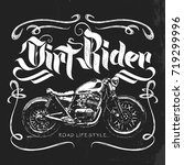 vintage motorcycle hand drawn... | Shutterstock .eps vector #719299996