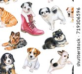 Stock photo seamless pattern with puppies wallpapers with dogs watercolor illustration 719306596